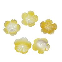Natürliche gelbe Muschelperlen, Blume, 10x2.5mm, Bohrung:ca. 1mm, 50PCs/Tasche, verkauft von Tasche