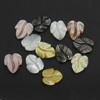 gemischte Materialien Perle, Blatt, verschiedenen Materialien für die Wahl, 12x13.5x3mm, Bohrung:ca. 1mm, 50PCs/Tasche, verkauft von Tasche