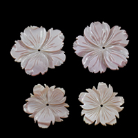 Natürliche Rosa Muschelperlen, Blume, Ohne Feuer, 38x4mm, Bohrung:ca. 1mm, 10PCs/Tasche, verkauft von Tasche