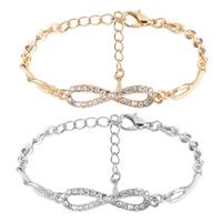 Zinklegierung Armband, plattiert, Oval-Kette & für Frau & mit Strass, keine, frei von Nickel, Blei & Kadmium, 7x30mm, verkauft per ca. 8.85 ZollInch Strang