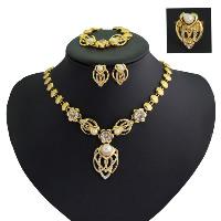 Zinklegierung Schmucksets, Fingerring & Armband & Ohrring & Halskette, mit Harz-Perle, mit Verlängerungskettchen von 1.9lnch, goldfarben plattiert, für Frau & mit Strass, 55mm, 17x24mm, 67x18mm, Größe:8, Länge:ca. 17.7 ZollInch, ca. 7 ZollInch, verkauft von setzen