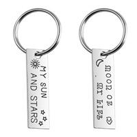 Zinklegierung Schlüsselanhänger, mit Eisen Ring, Platinfarbe platiniert, mit Brief Muster & für paar, frei von Blei & Kadmium, 15x52mm, verkauft von Paar