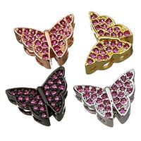 Befestigte Zirkonia Perlen, Messing, Schmetterling, plattiert, Mehrloch- & Micro pave Zirkonia, keine, 12x19x15mm, Bohrung:ca. 2mm, ca. 20PCs/Menge, verkauft von Menge