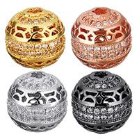 Befestigte Zirkonia Perlen, Messing, plattiert, Micro pave Zirkonia & hohl, keine, 12x12x12mm, Bohrung:ca. 2.5x2.5mm, 10PCs/Menge, verkauft von Menge