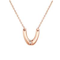 Titanstahl Halskette, mit Verlängerungskettchen von 1.9inch, Buchstabe U, Rósegold-Farbe plattiert, Oval-Kette & für Frau & mit Strass, 12x2x13mm, verkauft per ca. 16.5 ZollInch Strang