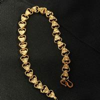 Messing-Armbänder, Messing, 24 K vergoldet, Blume Schnitt & Herz Kette & für Frau, frei von Nickel, Blei & Kadmium, 8mm, verkauft per ca. 7.5 ZollInch Strang