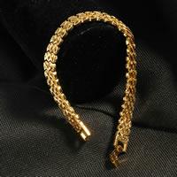 Herren-Armband & Bangle, Messing, 24 K vergoldet, Blume Schnitt & für den Menschen, frei von Nickel, Blei & Kadmium, 9mm, verkauft per ca. 7.5 ZollInch Strang