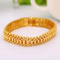 Herren-Armband & Bangle, Messing, 24 K vergoldet, für den Menschen, frei von Nickel, Blei & Kadmium, 12mm, verkauft per ca. 7.5-8 ZollInch Strang