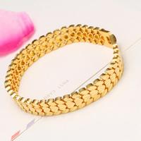 Herren-Armband & Bangle, Messing, 24 K vergoldet, Herz Kette & für den Menschen, frei von Nickel, Blei & Kadmium, 12mm, verkauft per ca. 8 ZollInch Strang