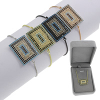 Befestiger Zirkonia Messing Armband, Rechteck, plattiert, einstellbar & Kastenkette & Micro pave Zirkonia & für Frau, keine, frei von Blei & Kadmium, 29x19x2mm, Länge:ca. 7.5 ZollInch, verkauft von Box