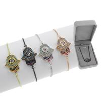 Hamsa Armbänder, Messing, plattiert, einstellbar & Kastenkette & Micro pave Zirkonia & für Frau, keine, frei von Blei & Kadmium, 16.50x23x3mm, Länge:ca. 7.5 ZollInch, verkauft von Box