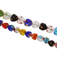 Millefiori Lampwork Perle, Herz, handgemacht, verschiedene Größen vorhanden, Bohrung:ca. 1mm, verkauft per ca. 13 ZollInch Strang