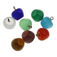 Katzenauge Anhänger, mit Zinklegierung Stiftöse, Apfel, gemischte Farben, 13.5x15mm, Bohrung:ca. 2mm, verkauft von PC