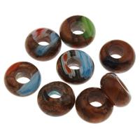 Handgewickelte Perlen, Lampwork, Trommel, handgemacht, gemischte Farben, 14x7mm, Bohrung:ca. 5.5mm, verkauft von PC