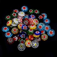Glas Chevron Cabochon, flache Runde, handgemacht, flache Rückseite, gemischte Farben, 10x3.5mm, verkauft von PC