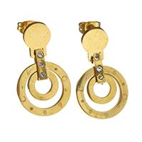Edelstahl Tropfen Ohrring, goldfarben plattiert, für Frau & mit Strass, 28mm, 16mm, verkauft von Paar
