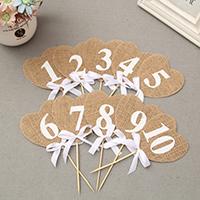 Hochzeits-Dekoration Zubehör, Leinen, mit Bambus & Satinband, Herz, Hochzeitsgeschenk & mit einem Muster von Nummer, 85x90mm, 180mm, 10PCs/setzen, verkauft von setzen