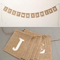 Dekoration Pull Flagge, Leinen, mit Hanfgarn, Rechteck, Hochzeitsgeschenk & mit Brief Muster, 150x120mm, verkauft per ca. 3.5 m Strang