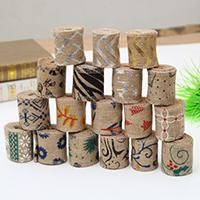 Burlap Ribbon, Leinen, Weihnachtsschmuck & verschiedene Muster für Wahl, 60mm, Länge:ca. 2 m, 3PCs/Menge, verkauft von Menge