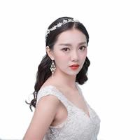 Braut Haarband, Zinklegierung, mit Satinband & Kristall & Glasperlen, plattiert, für Braut & für Frau, keine, frei von Nickel, Blei & Kadmium, 370mm, Länge:ca. 14.5 ZollInch, verkauft von PC