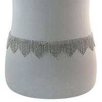 Zinklegierung Taillenkette, silberfarben plattiert, für Frau & mit Strass, frei von Nickel, Blei & Kadmium, verkauft per ca. 29.5 ZollInch Strang