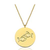 Edelstahl Schmuck Halskette, mit Verlängerungskettchen von 1.5Inch, Fische, goldfarben plattiert, Mit Verpackungskasten & Oval-Kette & für Frau & hohl, 25x29mm, 2mm, verkauft per ca. 20 ZollInch Strang