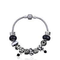 European Armband, Zinklegierung, mit Zink-Legierung Perle & Messingkette & Lampwork, plattiert, unterschiedliche Länge der Wahl & für Frau & mit Strass, frei von Blei & Kadmium, verkauft von Strang