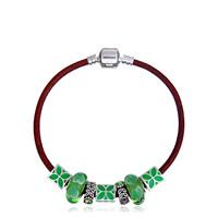 European Armband, Lederband, mit Zink-Legierung Perle & Kristall & Lampwork & Emaille, plattiert, unterschiedliche Länge der Wahl & für Frau & mit Strass, keine, frei von Blei & Kadmium, verkauft von Strang