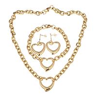 Edelstahl Schmucksets, Armband & Ohrring & Halskette, Herz, goldfarben plattiert, Oval-Kette & für Frau, 24x23.5mm, 8mm, 24x23.5mm, 8mm, 42mm, 24x23.5mm, Länge:ca. 18 ZollInch, ca. 8.5 ZollInch, verkauft von setzen