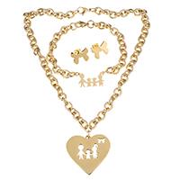Edelstahl Schmucksets, Armband & Ohrring & Halskette, goldfarben plattiert, Oval-Kette & für Frau, 40x36mm, 8mm, 26x15mm, 8mm, 18x13mm, Länge:ca. 18 ZollInch, ca. 9 ZollInch, verkauft von setzen