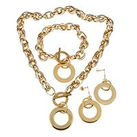 Edelstahl Schmucksets, Armband & Ohrring & Halskette, Kreisring, goldfarben plattiert, Seil-Kette & für Frau, 31mm, 11mm, 31mm, 11mm, 54mm, 30mm, Länge:ca. 19 ZollInch, ca. 10 ZollInch, verkauft von setzen