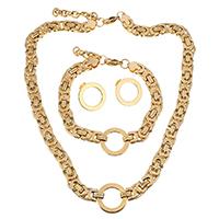 Edelstahl Schmucksets, Armband & Ohrring & Halskette, mit Verlängerungskettchen von 2Inch, 1Inch, Kreisring, goldfarben plattiert, für Frau, 21mm, 9mm, 21mm, 9mm, 21mm, Länge:ca. 18 ZollInch, ca. 9 ZollInch, verkauft von setzen