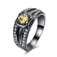 comeon® Finger-Ring, Messing, metallschwarz plattiert, verschiedene Größen vorhanden & für Frau & mit kubischem Zirkonia & hohl, frei von Nickel, Blei & Kadmium, 10mm, verkauft von PC