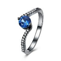 comeon® Finger-Ring, Messing, metallschwarz plattiert, verschiedene Größen vorhanden & für Frau & mit kubischem Zirkonia, frei von Nickel, Blei & Kadmium, 7mm, verkauft von PC
