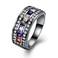 comeon® Finger-Ring, Messing, metallschwarz plattiert, verschiedene Größen vorhanden & für Frau & mit kubischem Zirkonia, frei von Nickel, Blei & Kadmium, 9mm, verkauft von PC