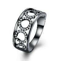 comeon® Finger-Ring, Messing, metallschwarz plattiert, verschiedene Größen vorhanden & für Frau & mit kubischem Zirkonia & hohl, frei von Nickel, Blei & Kadmium, 9mm, verkauft von PC