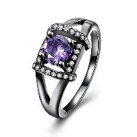 comeon® Finger-Ring, Messing, metallschwarz plattiert, verschiedene Größen vorhanden & für Frau & mit kubischem Zirkonia, frei von Nickel, Blei & Kadmium, 10mm, verkauft von PC