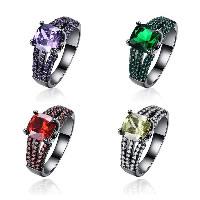 comeon® Finger-Ring, Messing, metallschwarz plattiert, verschiedene Größen vorhanden & für Frau & mit kubischem Zirkonia, keine, frei von Nickel, Blei & Kadmium, 9mm, verkauft von PC