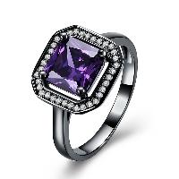 comeon® Finger-Ring, Messing, Quadrat, metallschwarz plattiert, verschiedene Größen vorhanden & für Frau & mit kubischem Zirkonia, frei von Nickel, Blei & Kadmium, 13mm, verkauft von PC
