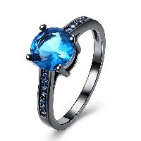 comeon® Finger-Ring, Messing, flachoval, metallschwarz plattiert, verschiedene Größen vorhanden & für Frau & mit kubischem Zirkonia, frei von Nickel, Blei & Kadmium, 8mm, verkauft von PC