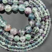Fluorit Perlen, Buntes Fluorit, rund, natürlich, verschiedene Größen vorhanden, verkauft per ca. 15 ZollInch Strang