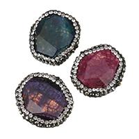 Achat Perlen, gemischter Achat, mit Ton, mit Strass, keine, 21-22x22-23.5x10-14mm, Bohrung:ca. 1.5mm, 10PCs/Menge, verkauft von Menge