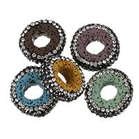 Natürliche Lava Perlen, mit Ton, Kreisring, mit Strass, keine, 18.5-20x18mm, Bohrung:ca. 0.5mm, 10PCs/Menge, verkauft von Menge