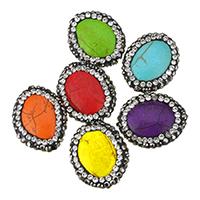 Türkis Perlen, Synthetische Türkis, mit Ton, flachoval, mit Strass, keine, 20-21.5x17x16mm, Bohrung:ca. 1.5mm, 20PCs/Menge, verkauft von Menge