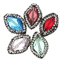 Kristall-Perlen, Kristall, mit Ton, mit Strass, mehrere Farben vorhanden, 19.5-21x13-14x7-8mm, Bohrung:ca. 1mm, 20PCs/Menge, verkauft von Menge