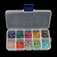 Kristall-Perlen, Kristall, mit Kunststoff Kasten, transparent & facettierte, 4x4mm, 130x69x22mm, verkauft von Box