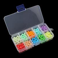 Volltonfarbe Acryl Perlen, mit Kunststoff Kasten, rund, 6mm, 130x69x22mm, Innendurchmesser:ca. 1mm, verkauft von Box