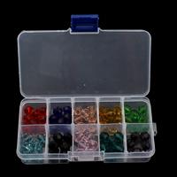 Kristall-Perlen, Kristall, mit Kunststoff Kasten, 10x9mm, 130x69x22mm, Innendurchmesser:ca. 1.5mm, verkauft von Box