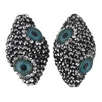 Harz Evil Eye Perlen, mit Ton, böser Blick- Muster & mit Strass, 18x30x18mm, Bohrung:ca. 1.5mm, 10PCs/Menge, verkauft von Menge