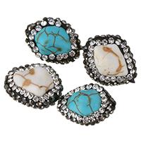 Türkis Perlen, Natürliche Türkis, mit Ton, mit Strass, keine, 12-14x15.5-16.5x9-10mm, Bohrung:ca. 1mm, 20PCs/Menge, verkauft von Menge